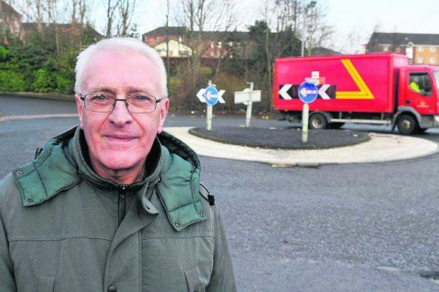 The crumbling roundabout in Turner Road, Springburn has led to complaints from residents including James Kinlan