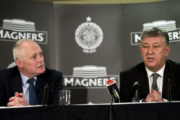 Celtic chief executive Peter Lawwell, right, with Magners managing director Tom McCusker announce their new three-year shirt sponsorship deal