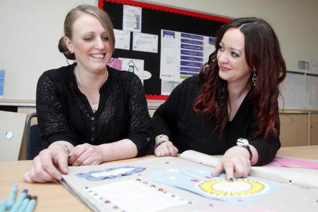 Linda Christie and Tracy Rennie who now attend a weekly creative writing class at Castlemilk Family Learning Centre