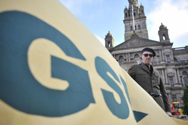 Comedian Bruce Morton, leader of the Greater Shawlands Republic, helped launch the Glasgow International Comedy Festival programme in George Square.  Picture: Jamie Simpson