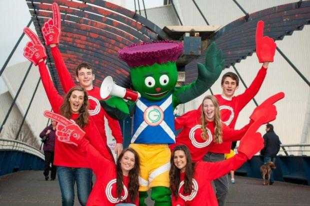 Clyde the Glasgow 2014 Mascot is joined by young students -- Mike Sherry, Kate Galbraith, Lauren Purdie, Katherine Kinloch, Kimberley Young and Rory Elrick -- who have all registered their interest in volunteering at the Games ...and he's looking for lots