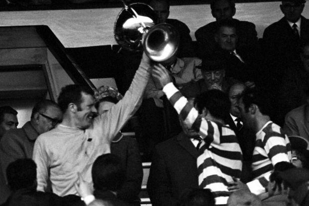 John Fallon and goalscorer Bertie Auld hold aloft the cup after Celtic's 1-0 win over St Johnstone in the 1969 League Cup Final at Hampden