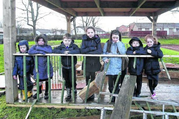 Children were 'devastated' to find the gazebo trashed