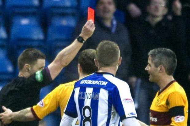 Keith Lasley was red-carded against Kilmarnock