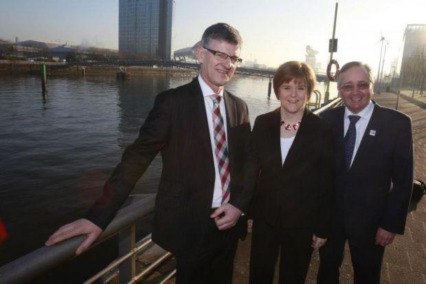 nGeoff Aitkenhead, with Nicola Sturgeon and Gordon Matheson, launched the plan to tackle flooding
