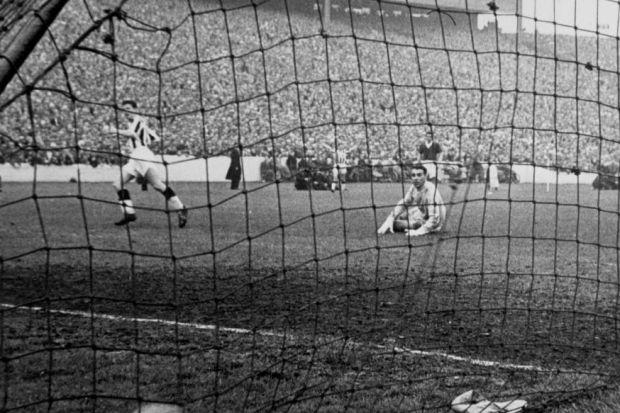 St Mirren's Gerry Baker nets in the Scottish Cup final against Aberdeen