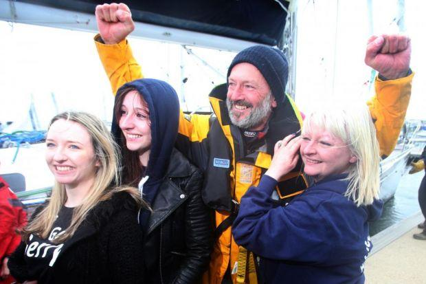 Gerry Hughes with his wife Kay and daughters Nicola and Ashley