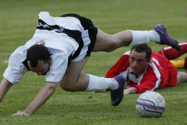 Match action from Ashfield v Largs Thistle. Pictures: Colin Mearns