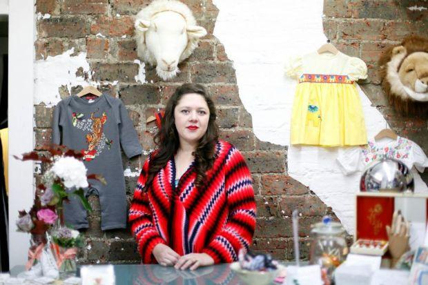 Jolyne Colburn in her childrenswear shop, Rowdy Roddy Vintage