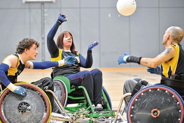 n Ciaran Pryce, 21, Jo Butterfield, 34, and Tony Kane, 30, of the Caledonian Crushers Glasgow Wheelchair Rugby Club, have some practice before this weekend??s tournament                  Picture: Jamie Simpson