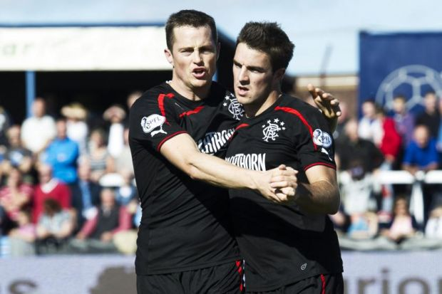 Andy Little (right) accepts the plaudits from Jon Daly after his winner for Gers against Forfat at Station Park