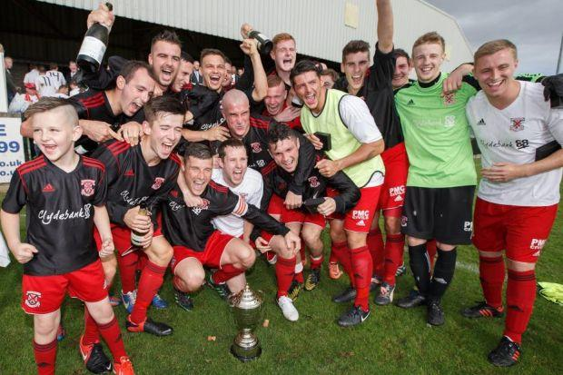Even the mascot joins in the celebrations after Clydebank beat Pollok 2-0 to win the Euroscot Engineering Sectional League Cup in September