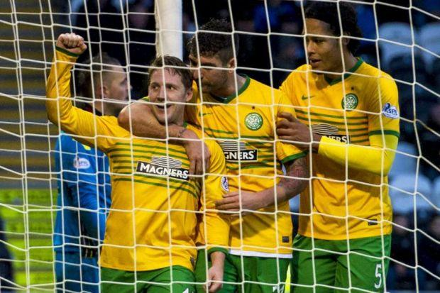 Kris Commons celebrates his 50th Celtic goal with team-mates Charlie Mulgrew and Virgil van Dijk
