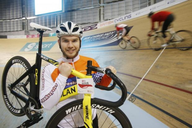 Track Sprint cyclist David Daniell, 24, pictured at the Sir Chris Hoy velodrome Picture: Colin Mearns