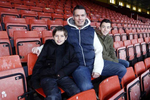 Martin McNelis with his sons Ryan (black jacket) and Conor, at Partick Thistle's Firhill Stadium  Pictures:  Colin Templeton