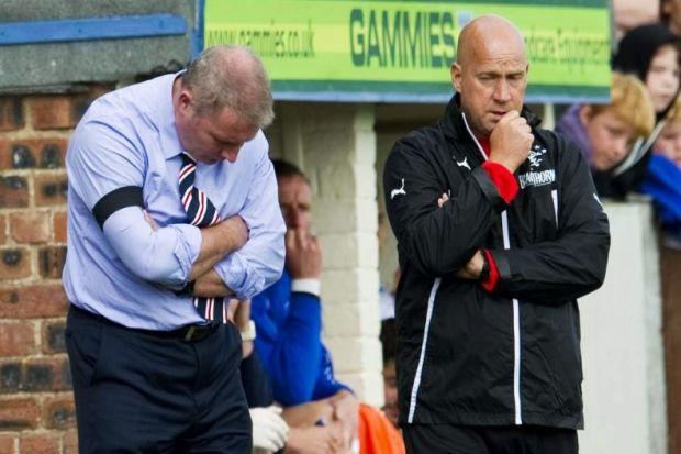 Manager Ally McCoist at Station Park in August when Rangers were beaten by Forfar in the League Cup