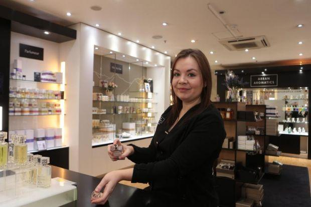 Arran Aromatics Manager Lynne Johnston highlights the range of products in the Princes Square store   Pictures: Mark Mainz