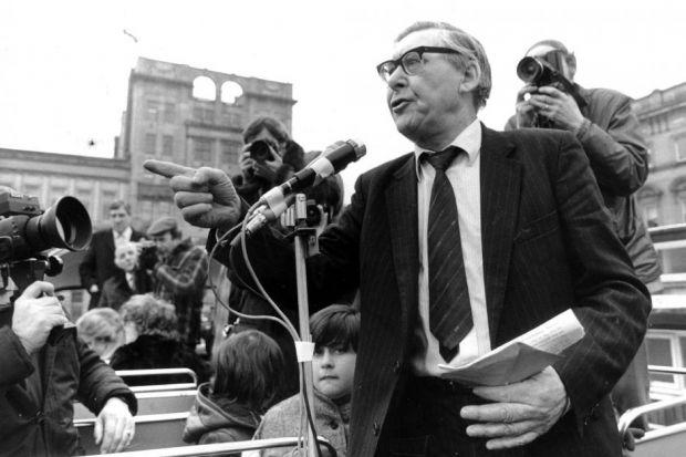 Mick McGahey addresses a crowd in George Square during the miners' strike in 1985
