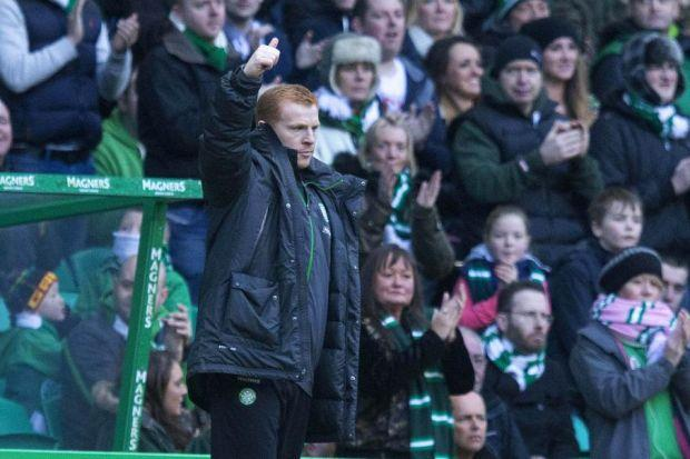 Boss Neil Lennon shows his thanks to the Celtic supporters