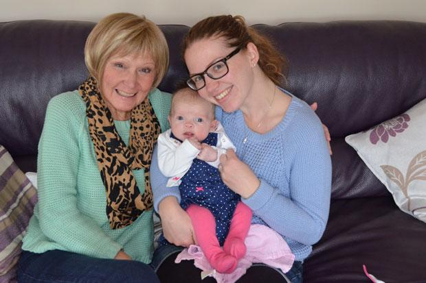 Sofia with her gran and mum