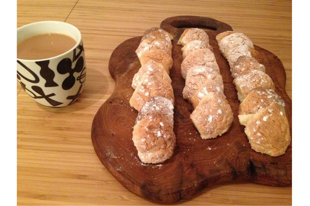 Lancashire nuts dusted with icing sugar