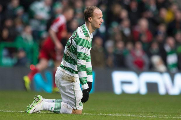 Celtic's Leigh Griffiths looks dejected