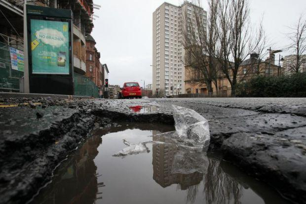 Thousands of potholes have been repaired, but not this one in Cowcaddens Road