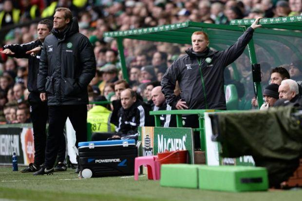 Neil Lennon looks on in disbelief as his Hoops, including Leigh Griffiths and Amido Balde, misfire