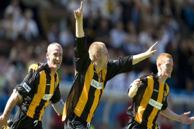 Stuart Davidson (centre) wheels away after his Scottish Cup final winner for Auchinleck Talbot against Clydebank back in 2009