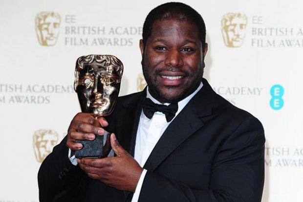 Director Steve McQueen with the Bafta for Best Film which went to historical drama 12 Years A Slave