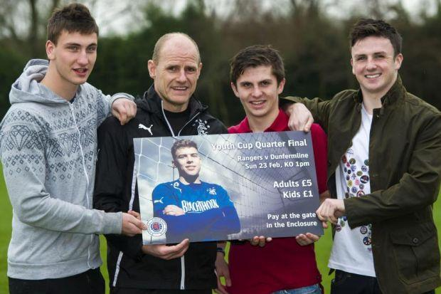Rangers youth coach Gordon Durie with, from left, Luca Gasparotto, Charlie Telfer and Callum Gallagher