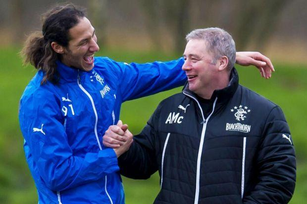 Ally McCoist was able to enjoy a laugh with Bilel Mohsni at Murray Park on Friday