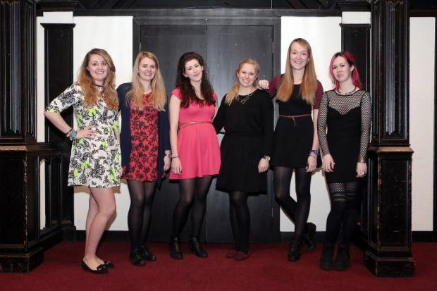 Breffni O'Connor, Jessica McGaillis, Naomi Duffy-Welsh, Louise Graham, Nicky McComb and Clopin Meehan from Glasgow University are taking part in One Dress, One Month, where they wear the same dress  Picture: Mark Mainz