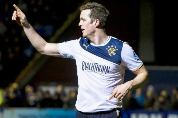 Jon Daly celebrates after his late goal secured a 2-0 victory for Rangers against Stranraer last night