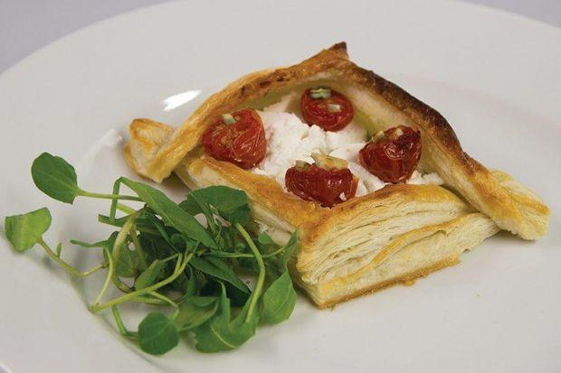 Goats' cheese, courgette and tomato tart