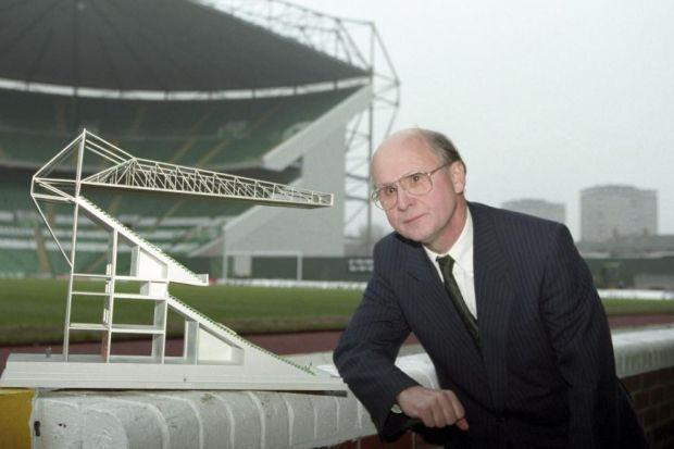 Fergus McCann with a model of Celtic Park's new stand in 1995