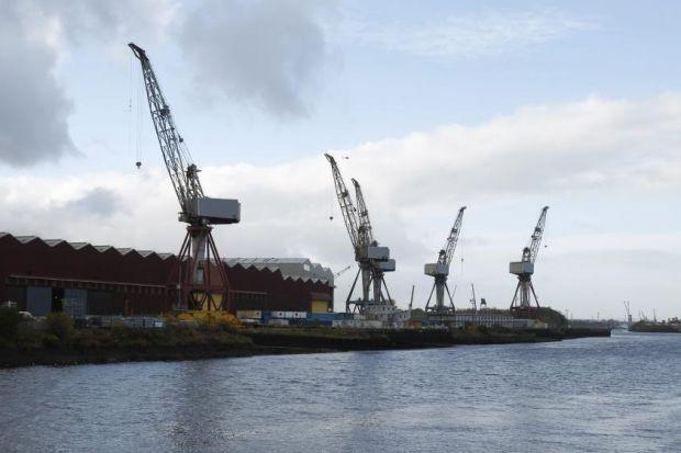 The last crane at the Govan shipyard is in the process of being dismantled