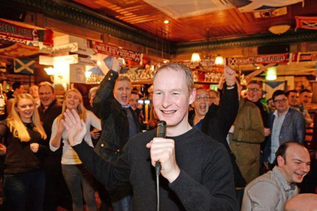 Donald MacLeod shattered the world joke-telling record in a Glasgow pub