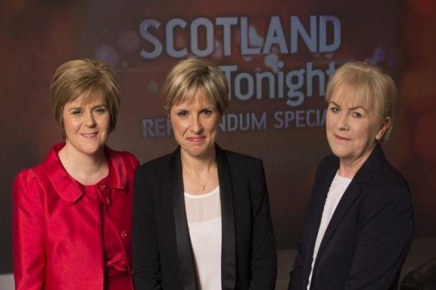 STV's Rona Dougall, centre, with Nicola Sturgeon and Johann Lamont