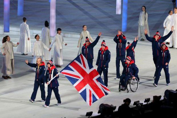 Team GB enters the area, led by flag bearer Millie Knight and guide Rachael Ferrier, from Kilmacolm, at the opening ceremony of the Paralympics