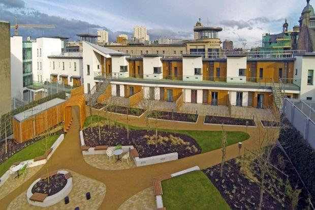 The rooftop garden is designed to attract wildlife to the homes' location in the heart of Glasgow city centre