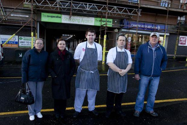 Business owners, from left, Bell Lockard of the Keystone Bar, Maureen Hibbens from Subway, Ben Carruthers and Scott Keenan from Papamacs, and Robert Lockard oppose plan    Picture: Mark Gibson