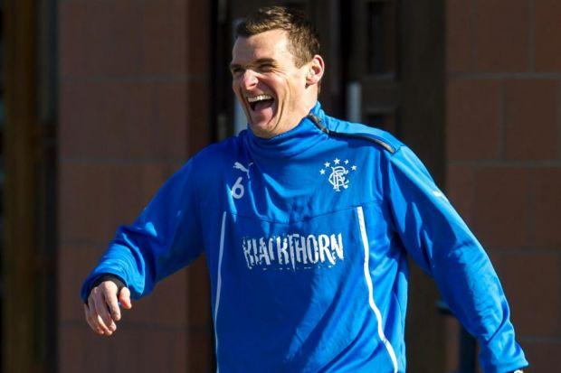 Gers captain Lee McCulloch is all smiles during a training session at Murray Park yesterday