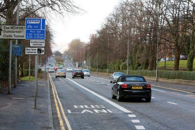 Mr Wilson was fined for driving in the part-time bus lane in Great Western Road on Christmas Day