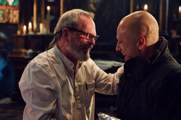 Terry Gilliam and Christoph Waltz on set on The Zero Theorem