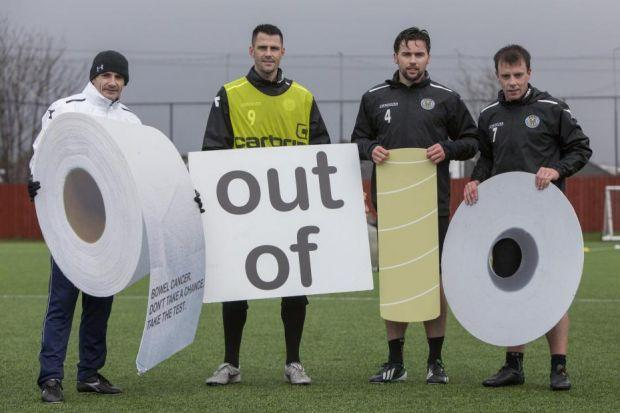 St Mirren Manager Danny Lennon and players Steven Thompson, Darren McGregor and Paul McGowan back the Scottish Government's bowel cancer screening campaign