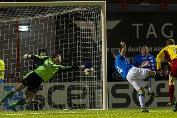 Fraser Aird fires Rangers in front after 17 minutes against Albion Rovers at New Douglas Park