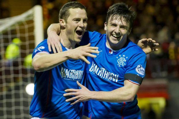 Jon Daly and Calum Gallagher celebrate the former's goal last night
