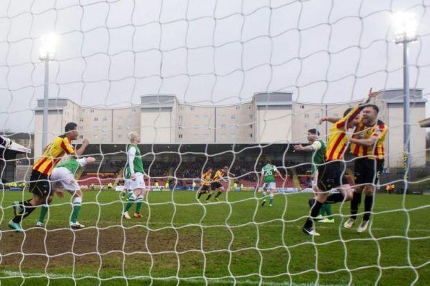 Partick Thistle fielded four strikers in the 3-1 win over Hibs … and even defender Lee Mair, celebrating with Conrad Balatoni, far right, got on the scoresheet