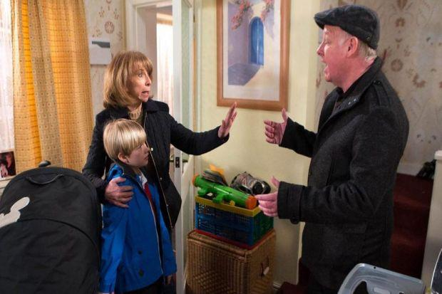 Gail (Helen Worth) is surprised by an intruder (Les Dennis) in tonight's episode of Coronation Street